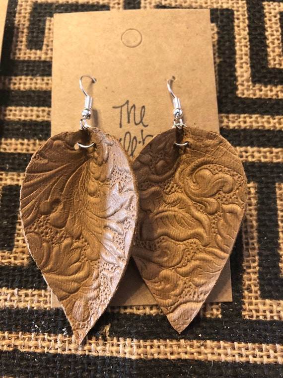 fff4ab72a Handmade tan tooled leather leaf earrings | Etsy