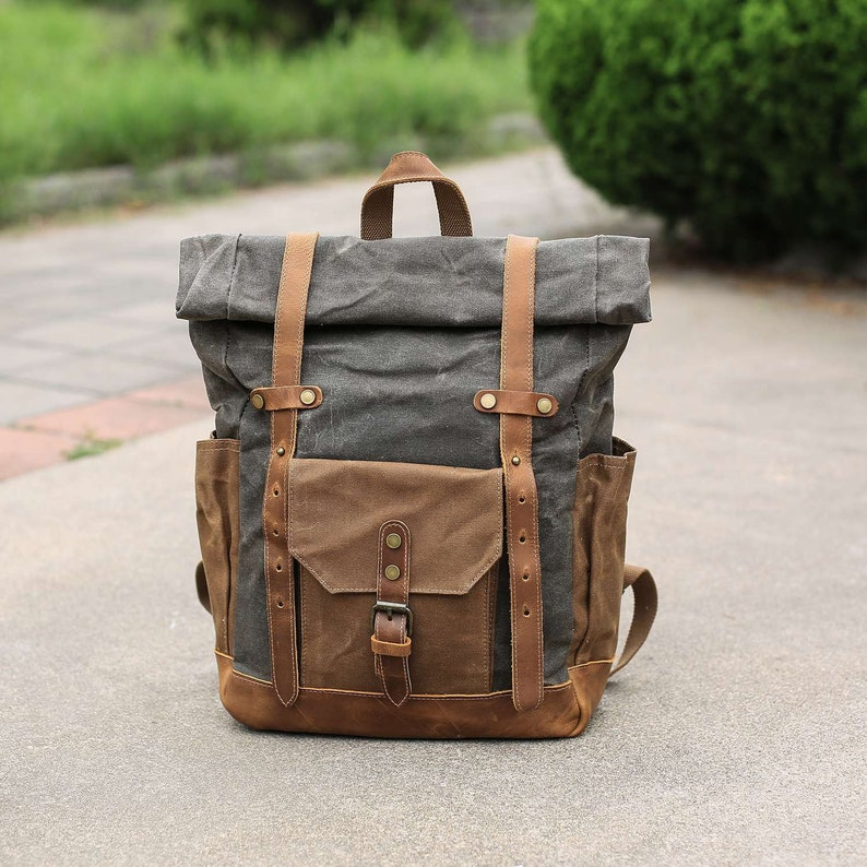 Canvas backpack men Roll Top Backpack Brown backpack  7ddf38e081363