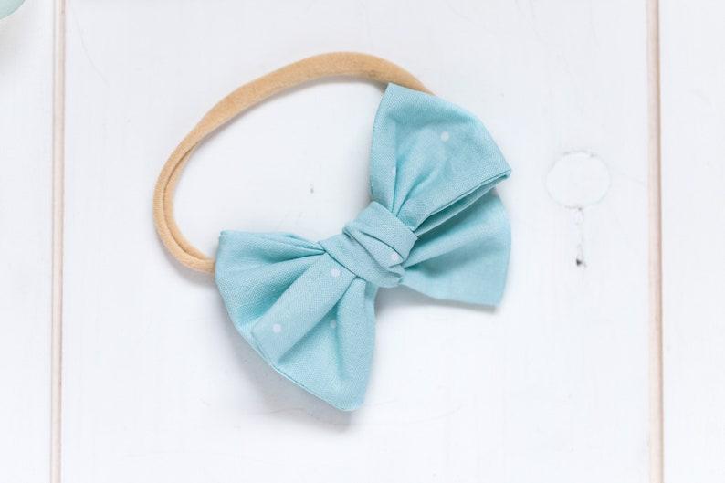 Blue Polka Dot Hair Bow  Baby Headband  Baby Shower Gift  Little Girl Bow  Clip In or Nylon Band