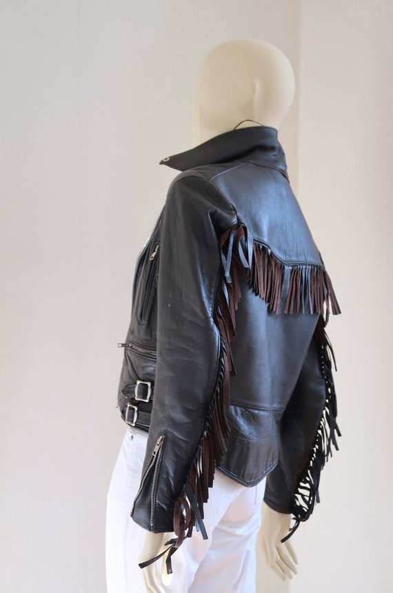 vintage fringed leather biker jacket/ 70s