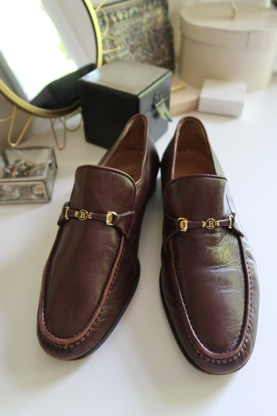 vintage Bally leather brown moccasin male slip-on