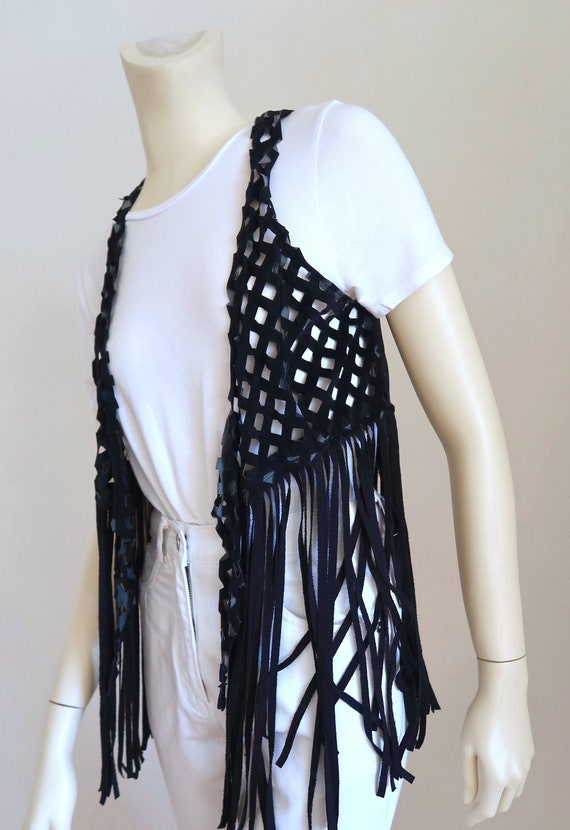 boho festival fringed french vintage vest