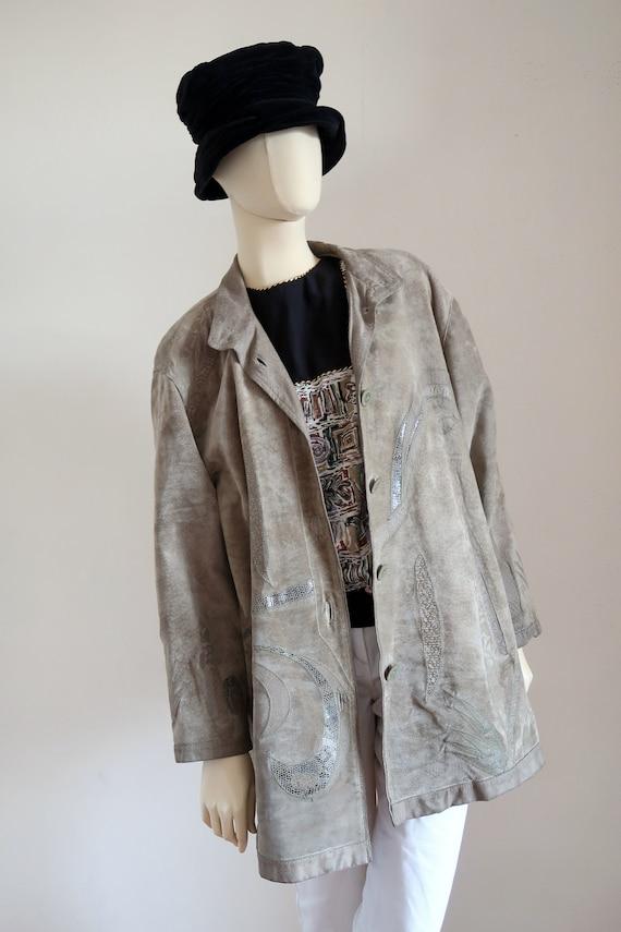 vintage sage suede patchwork coat/ 80s