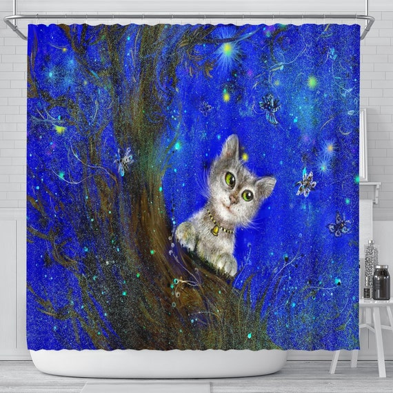 Magic Green Eyed Cat Shower Curtain