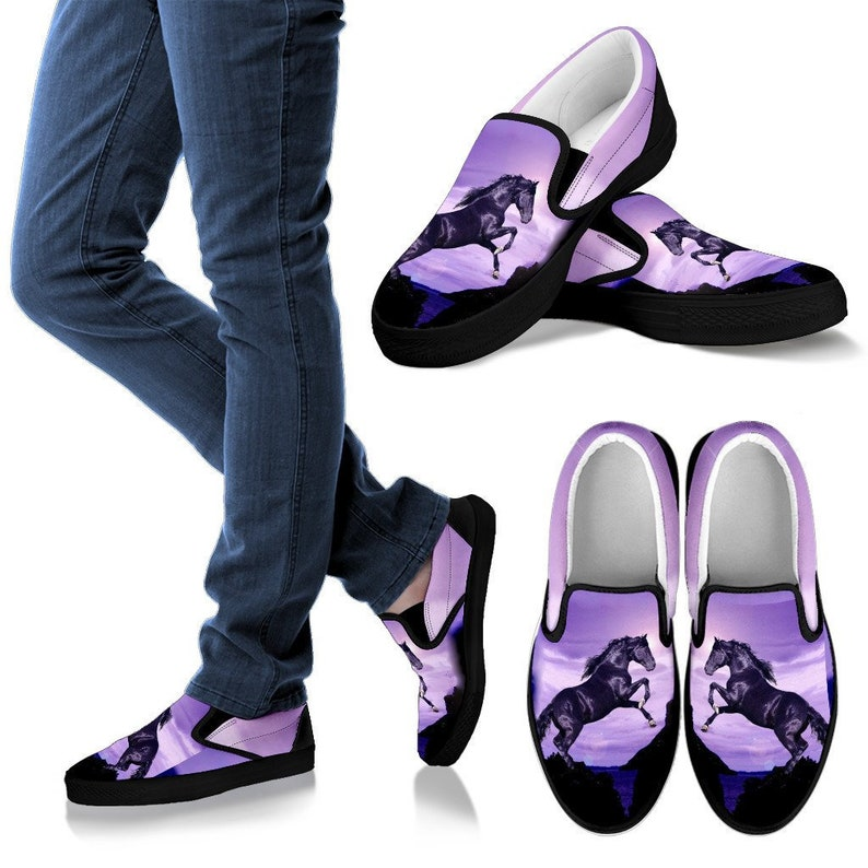620636e8eda68 Black Stallion Jumping Vans Style Shoes for Horse Lovers -Exclusive Artwork  - Black and Purple - For Men, Women and Kids!