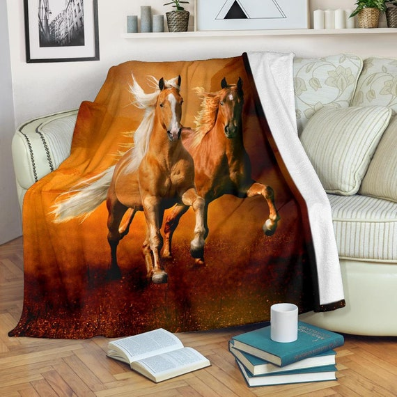Large Lavender White Beige TV Blanket Youth X-Large 3 Sizes Exclusively Licensed Artwork Palomino and White Horse Fleece Blanket