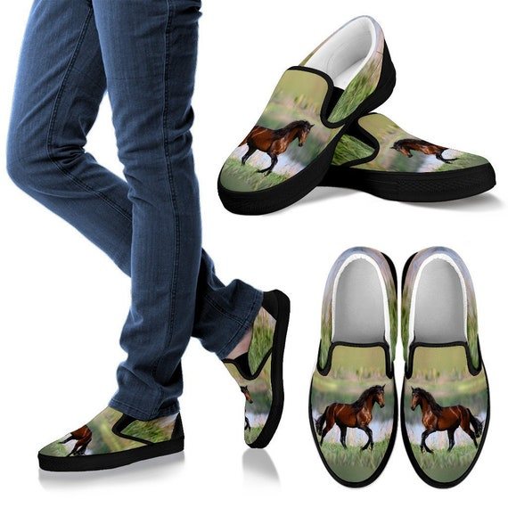 Brown and Green Bay Horse Running Slip On Shoe - Licensed Artwork - Women's and Kid's Sizes!