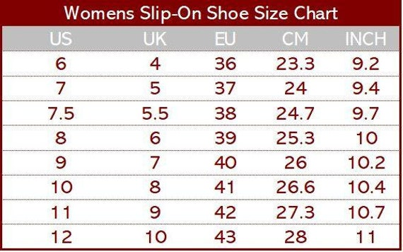 vans foot size chart
