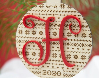 Christmas Sweater Monogram Ornament | Initial Letter Ornament, Wedding Gift, Last Name Initial Ornament, Holiday Sweater Ornament