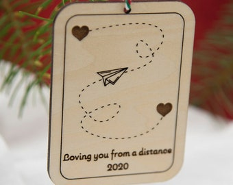 Love you from a distance holiday ornament | Social Distancing Ornament, Long Distance Ornament, Paper Airplane Ornament