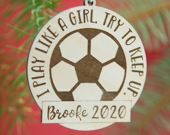 Personalized Play Like a Girl Ornament | Sports Girl Ornament, Custom Sports Ornament for Girls, Ornament for Girls