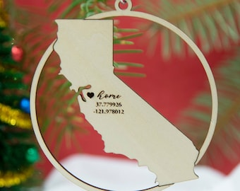 Home location ornament - All states available - Laser cut custom wood ornament
