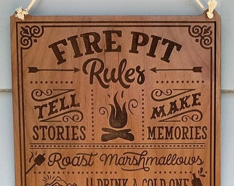Personalized Fire Pit Rules sign, Engraved Garden Decor, Fire Pit Decor, Custom Yard Sign, Firepit Rules Sign, Custom Fire Pit Sign