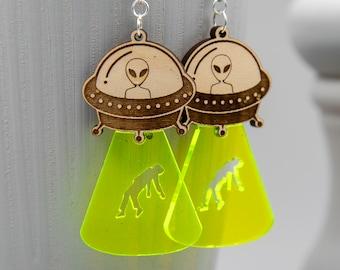 Alien Abduction Novelty Earrings | UFO