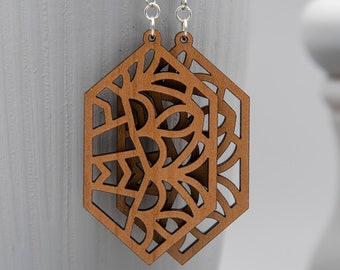 Abstract Design Earrings   Wood Earrings, Statement Earrings, Gifts for Her, Stained Glass Inspired, Geometric Design