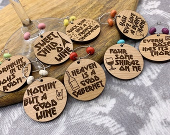 Hair Band Parody Wine Charms - Laser Engraved