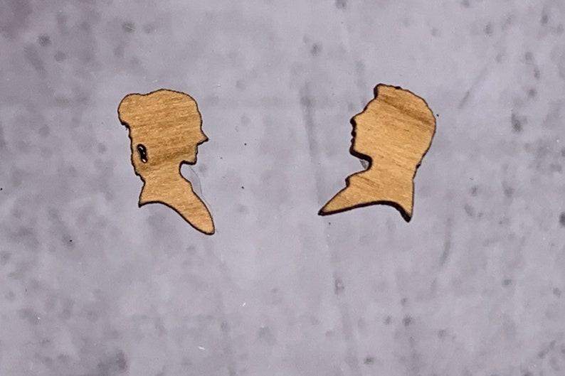 Han and Leia Stud Earrings  Laser Engraved Cherry Wood  Buy image 0