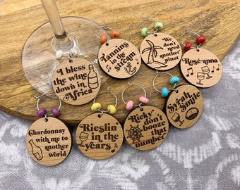 Yacht Rock Parody Wine Charms - Laser Engraved | Gift for Wine Lover, Funny Wine Charms, Wine Name Tags