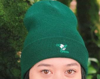 aeae2a8e57a25 Green embroidered beanie