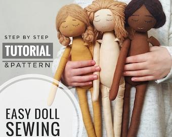Easy Doll sewing Pattern, PDF TUTORIAL, DIY your own doll.
