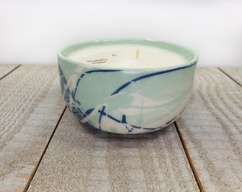 small handmade candle warm caramel fall food scent ceramic splatter paint blue and teal soy wax soywax