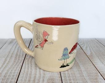 hot pink 16 oz fairy mug coffee tea whimsical garden mushroom decorative fay hand painted whimsical reusable