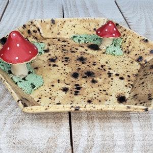 mushroom trinket ceramic box catch-all dish whimsical fairy garden forest tiny little wedding gift  decorative
