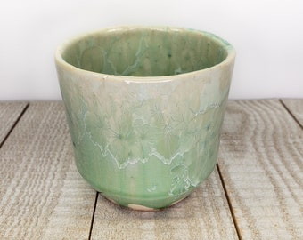 Green blue ceramic planter with cork bottom crystalline handmade 16 oz small for succulents little indoor