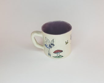 purple 16 oz fairy mug coffee tea whimsical garden mushroom decorative fay hand painted whimsical reusable