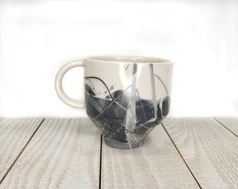 black and white marbled 12 oz mug cup coffee tea reusable ceramic slipcast porcelain handmade tumbler cup