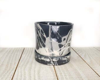 drainage hole black and white porcelain planter handmade swirl marbled slipcast