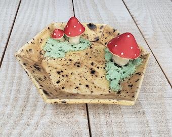 mushroom ceramic tray ring jewelry whimsical garden clay catch-all trinket dish fairy garden decorative