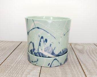 drainage hole blue teal white porcelain planter handmade swirl marbled slipcast white