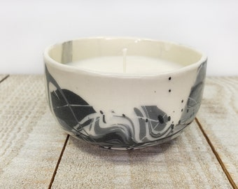 small handmade candle vanilla scent ceramic splatter paint black and white soy wax soywax