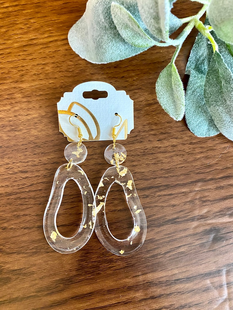 Gold Fleck Earrings Aly Dangle Customizable Resin O Shape Clear and Gold Rose Gold Silver  