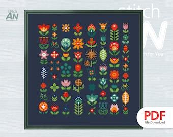 FLOWER cross stitch pattern PDF,Cross Stitch chart,Counted Cross Stitch pattern,Instant PDF Download(ANP152_FLOWER)