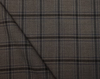 Tartan plaid check brown and gray fabric, pure  21 micron wool, by Vitale Barberis Canonico