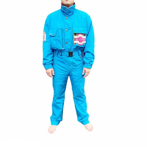 Men's Bogner Blue Ski Suit, Size 38, 1980's