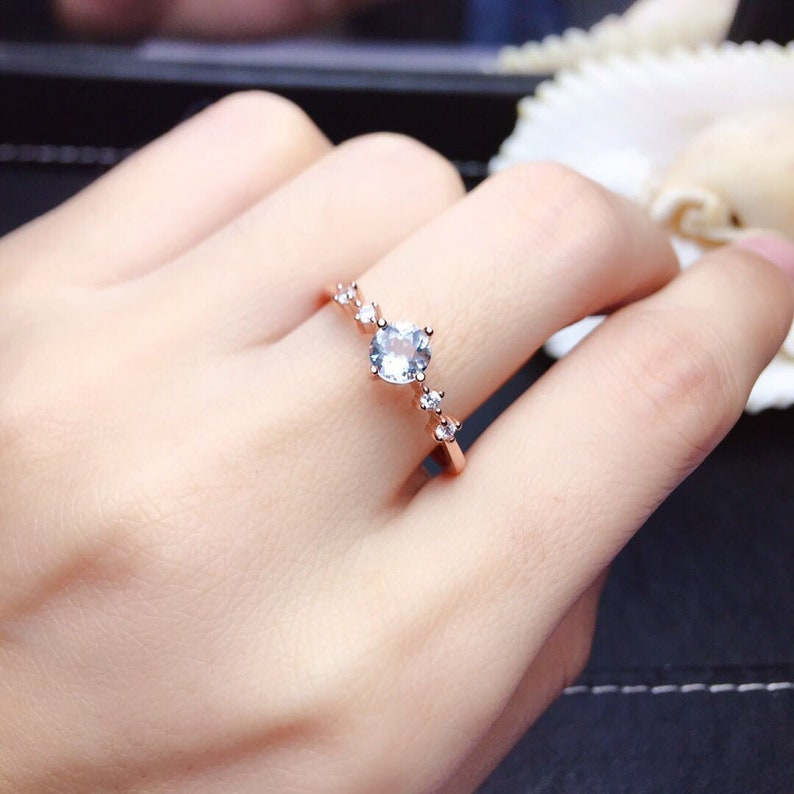 100/% Natural Sapphire 5MM round cut engagement ring wedding ring  promise ring  anniversary ring  bridal ring gift for her
