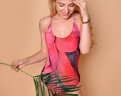 One peace swimsuit with amazing pink pattern birds feathers and open back