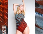 One peace swimsuit with amazing red gray pattern birds feathers and open back