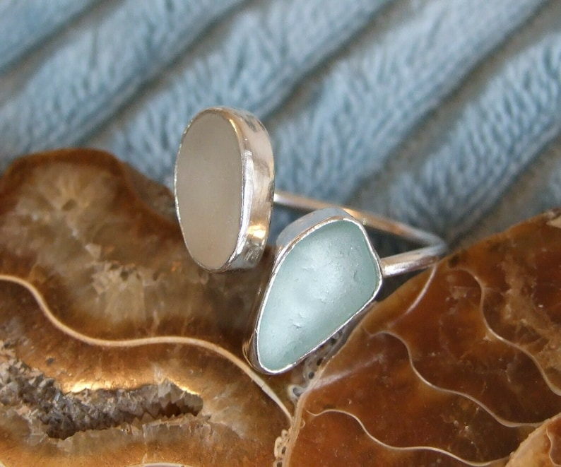 100/% Recycled Ecosilver Sterling Silver Handmade White /& Aqua Cornish Sea Glass Adjustable Ring in Gift Box