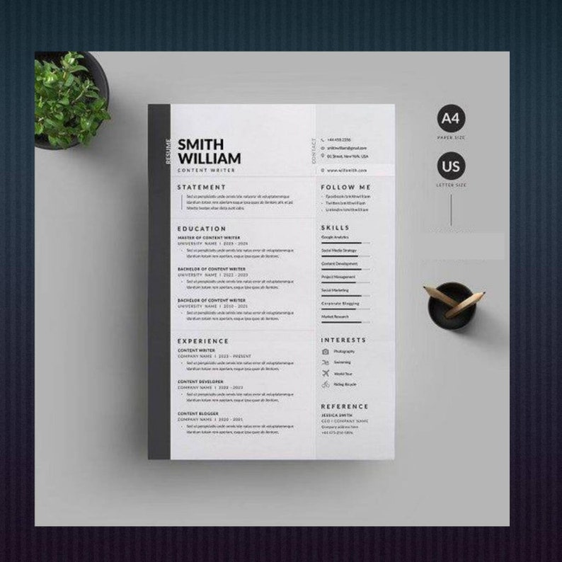 ATS Compliant CV template 2 page resume+cover letter and references smart resume files Resume Template Word Resume Professional Resume