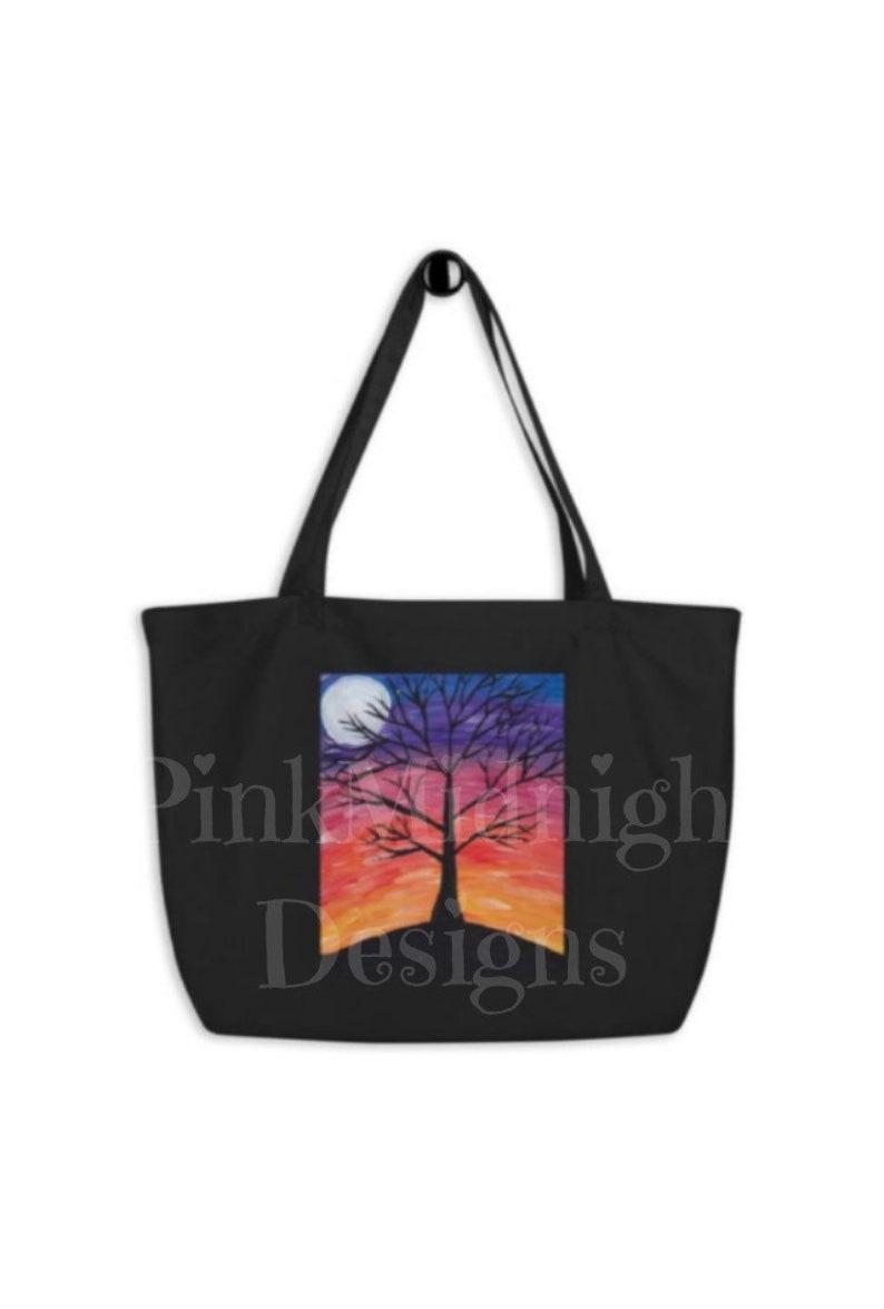 Sunset Moon Large organic tote bag