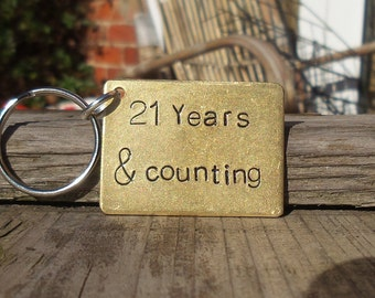 21 Years And Counting Keyring Husband Wife Gifts For Men Women Thoughtful 21st Anniversary Personalised BRASS Keyfob Custom Made Traditional