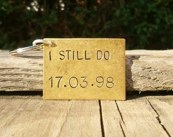 I STILL DO 21 Years Keyring Husband Wife Gifts For Men Women Thoughtful 21st Anniversary Personalised BRASS Keyfob Golden Traditional Unique
