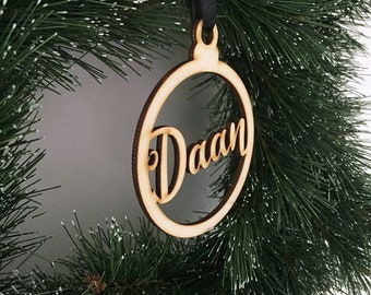Personalized Wooden Christmas Pendant By Name