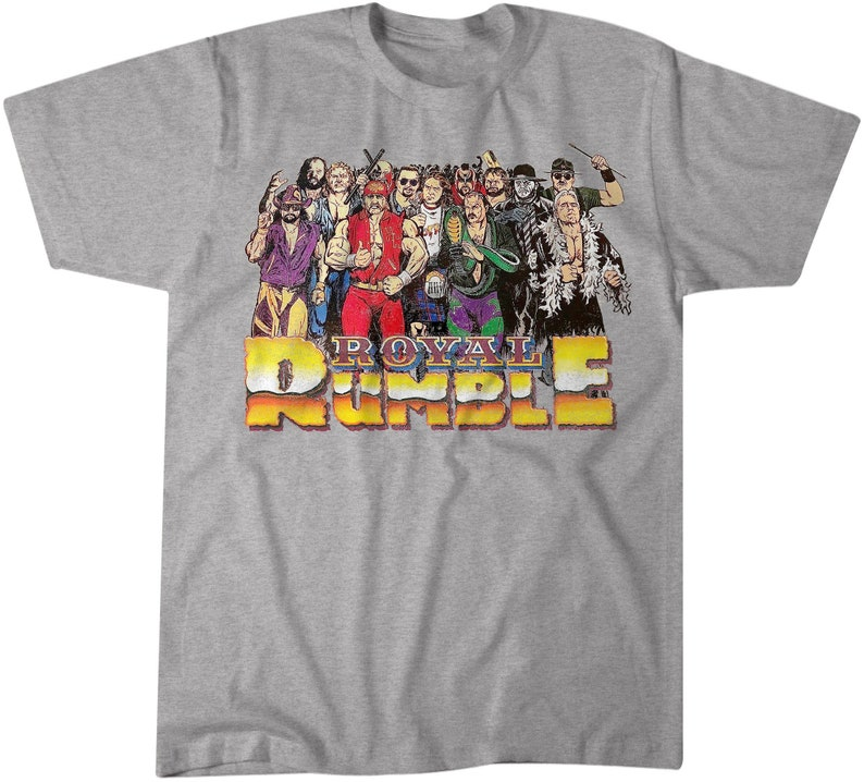 WWE THE ULTIMATE WARRIOR WRESTLER T-SHIRT HEATHER ROYAL RETRO DISTRESSED TEE