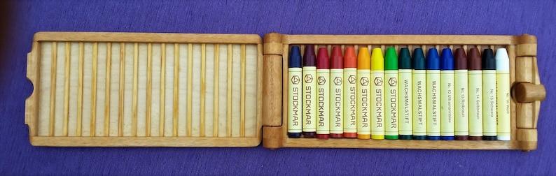 Paint box birch/beech with 16 Stockmar wax crayons Waldorf image 0
