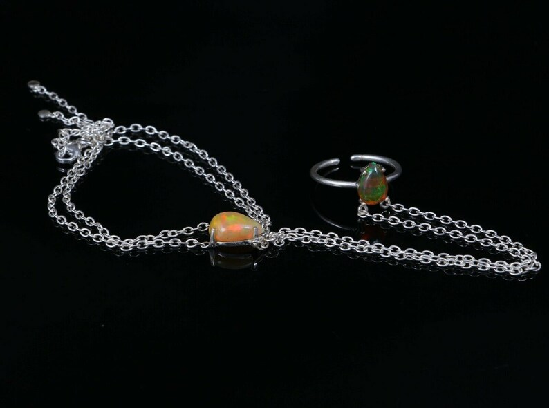 Exclusive Jewelry Design   Ring+Bracelet Attached Opal Jewelry Adjustable Ring 925 Silver Natural Ethiopian Opal Chain Link Bracelet